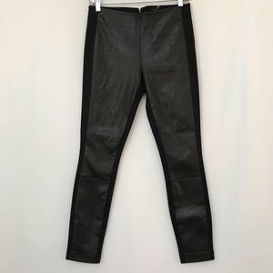 J CREW COLLECTION LEATHER FRONT PIXIE PANTS BLK 6